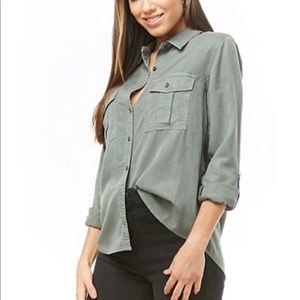 Tops - Light olive green button down
